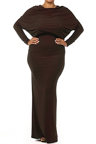 sexy diva Plus Multi Way Reversible Plunging Convertible Maxi Dress Off One Shoulder Halter - Brown - 1XL Diva Gown