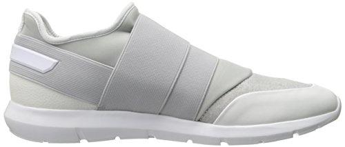 Sneakers modello slip on Calvin Klein da uomo in tessuto elasticizzato e neoprene bianco e grigio. Fondo in gomma bianca.
