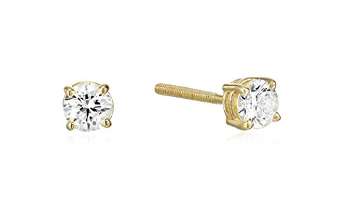 14k Yellow Gold Round Cut Diamond Screw Back and Post Stud Earrings (1/3cttw, H-I Color, I2 Clarity) (Round Yg 14k Diamond Cut)