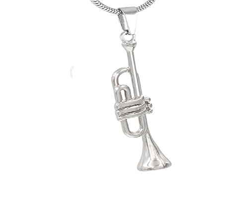 Zhane Memorial Jewelry Musical Instrument Collection Cremation Urn Ashes Pendant Stainless Steel Unisex (Celtic) (Trumpet)