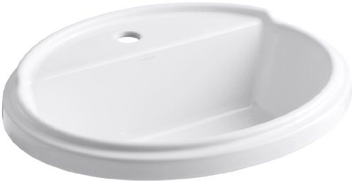 KOHLER K-2992-1-0 Tresham Oval Self-Rimming Bathroom Sink with Single-Hole Faucet Drilling, White