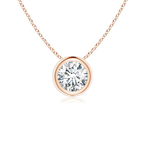 Bezel-Set Round Moissanite Solitaire Pendant in 14K Rose Gold (5mm Moissanite)