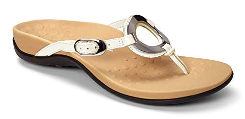 Vionic Women's Rest Karina Toe-Post Sandal - Ladies Flip- Flop with Concealed Orthotic Arch Support White 11 M US ()