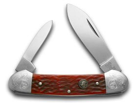 Hen and Rooster Red Pickbone Canoe Pocket Knife (Red Pickbone)