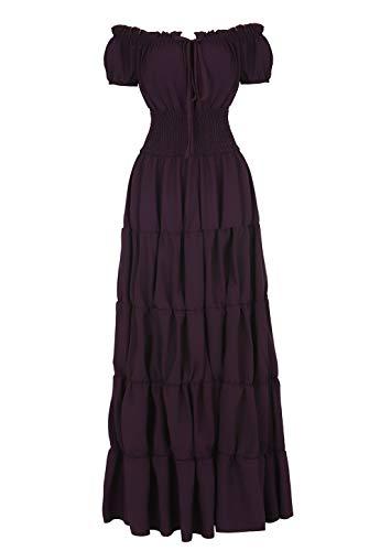 Haoaugut Women Renaissance Medieval Irish Costume Over Dress Smocked Waist Retro Gown Cosplay Purple -