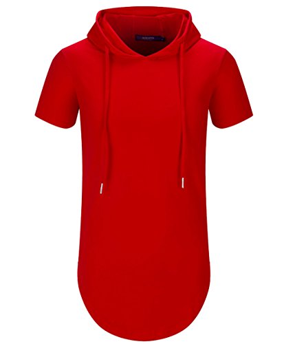 (Aiyino Mens Hipster Hip Hop Short Sleeve Longline Pullover Hoodies Shirts (US L, Red))
