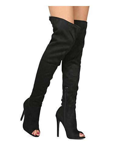 Boot Lace Costume Toe Peep Over OTK Diva Party Sexy Up Stiletto The Hind Collection Book Women Suede Boot HE24 Black Wild Knee By Cosplay Faux nIwFfqx5AO