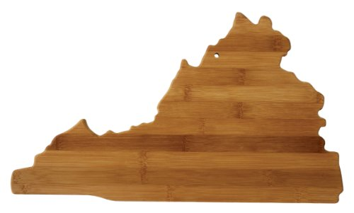 "Totally Bamboo State Cutting & Serving Board – ""VIRGINIA"", 100% Organic Bamboo Cutting Board for Cooking, Entertaining, Décor and Gifts. Designed in the (Virginia Tech Wall)"