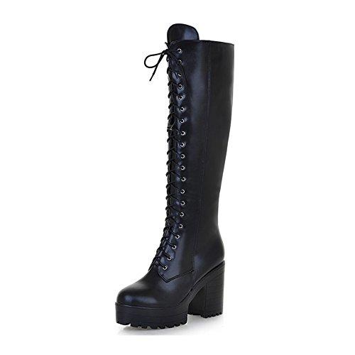 KingRover Women's Platform Faux Leather Lace up Combat Zipper Closure Knee High Boots Black