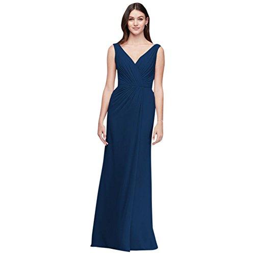 David's Bridal Faux-Wrap Pleated Chiffon Bridesmaid Dress Style F19585, Marine, 12]()