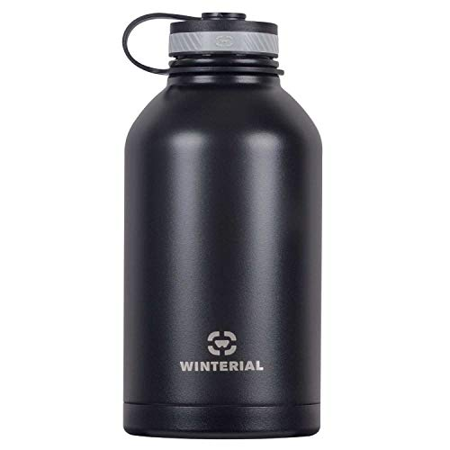 Winterial 64-Ounce (Oz) Insulated Water Bottle Wide Mouth Beer Growler, Black Aluminum Wide Mouth Bottle