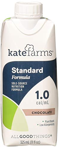 Kate Farms Standard 1.0 Chocolate Meal Replacement Drink, Dairy Free, Soy Free, Gluten Free, Nut Free and Corn Free, Ready to Use Plant-Based Protein for Oral and Tube Feeding, Case of 12