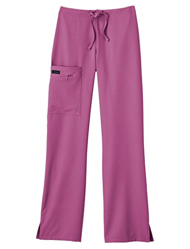 Classic Fit Collection by Jockey Women's Tri Blend Zipper Scrub Pants, Shocking Pink, MT