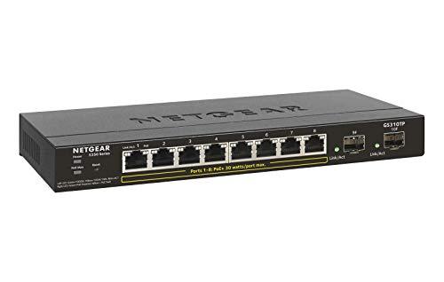 NETGEAR 10-Port Gigabit Ethernet Smart Managed Pro PoE Switch (GS310TP) - with 8 x PoE+ @ 55W, 2 x 1G SFP, Desktop, Fanless Housing for Quiet Operation, S350 Series