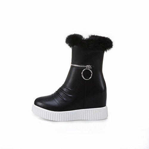 Schouder Dames Wollen Imitatiebont Warm Platform Sleehakken Schaatsen Snowboots Zwart