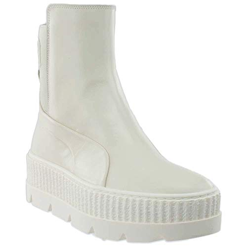 Boots White Knee Platform High (PUMA Unisex x Fenty by Rihanna Chelsea Sneaker Boot Vanilla Ice 9.5 Women / 8 Men M US)