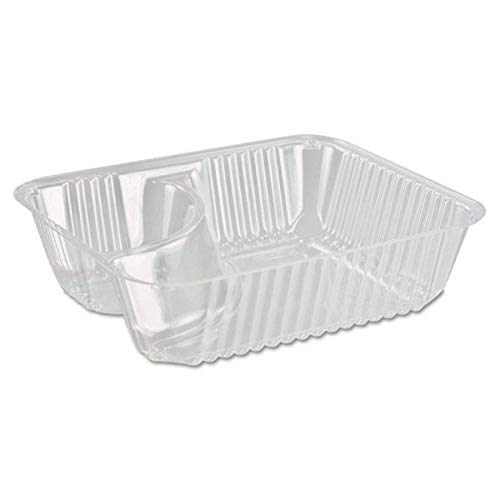 Small Clear Plastic Nacho Trays - 6 x 5 x 1-1/2 inch 2 Compartment Disposable Food Serving Holder; Perfect Size for Children-Size Nachos, Cheese Sauce and Other Dips (Pack of 50) ()
