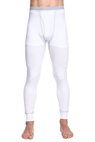 TONLEN Men's Mid-Weight Thermal Pants Cotton Long Johns Long Underwear White 2XL - Mid Top Extension