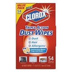 Clorox 31312 Triple Action Dust Wipes White 7 x 8 1/2 54/Box 5 Box/Carton
