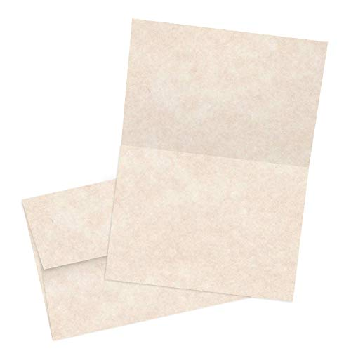 - Stationery Parchment Cards and Matching Envelopes | Color: Natural Cream - Blank Greeting Note Card | A7-5x7 Inches | 65 Cover, 176 (gsm) | 50 Per Pack (Folding Cards)
