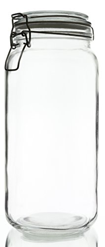 Swing-Top Food Storage Glass Jar Canister in Clear Glass, 67 Ounce