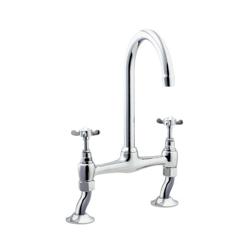 (Deva CR305 BRIDGE Coronation Bridge Sink Mixer Tap with Chrome Finish)
