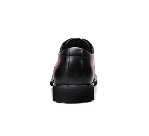 HYLM Nueva Inglaterra / zapatos de cuero del negocio / cierre redondo del cordón / zapatos de la boda zapatos ocasionales del tamaño grande Black