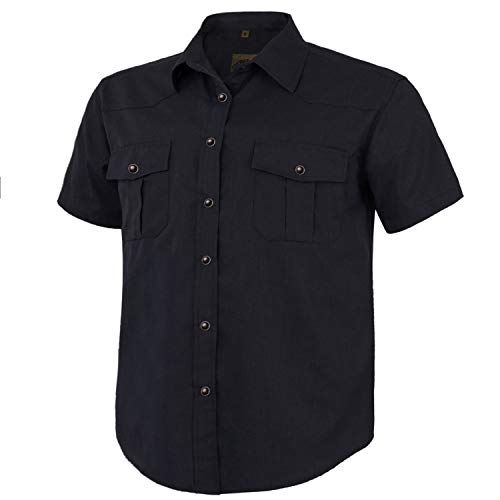 Coevals Club Men's Short Sleeve Casual Western Solid Snap Buttons Shirt (L, Black)