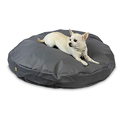 36 Inches Gunmetal Round Patio Pet Bed Small, Indoor Outdoor Dog Bed for Puppy Dog, Pillow Mattress Water Resistant Brass Zipper Removable Machine Washable Cover Soft Comfortable Durable, Polyester from PH