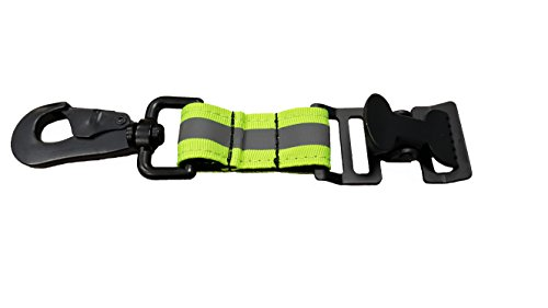 LINE2design Glove Strap - Firefighter Work Glove Holder - Emergency Firefighting Rescue Turnout Gear Reflective Nylon Webbing Gloves Safety Leash with Heavy Duty Alligator Clip - Green