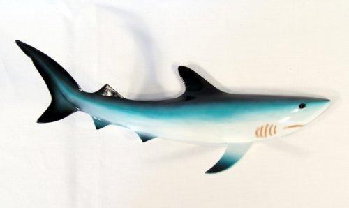 Handpainted Blue Shark Fish Wall Mount Decor Plaque 18