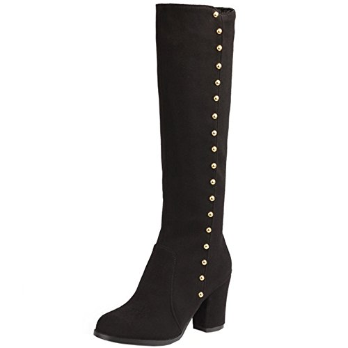 High 415 Coolcept Boots Classical Zip Black Block Buckle Heel Women Knee ZCrCRpWzI