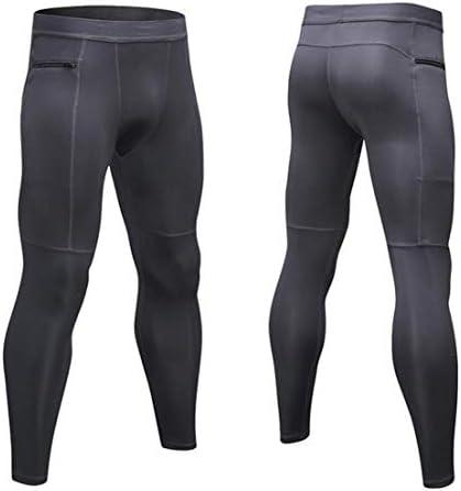 メンズスポーツコンプレッションフィットネスパンツクールドライランニングワークアウトタイツレギンス (Color : Black, Size : L)