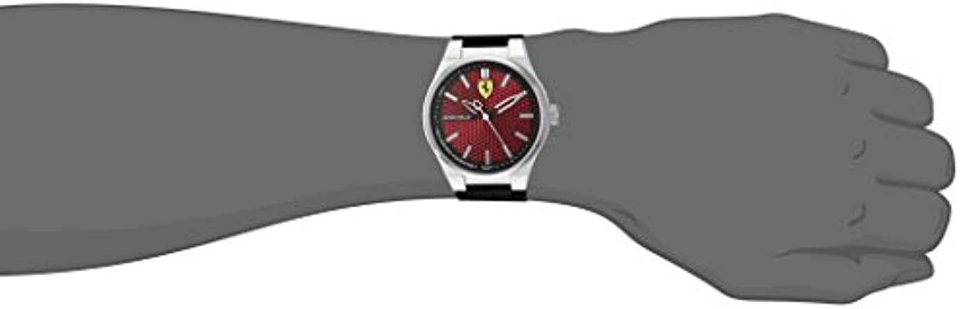 Ferrari Men s Stainless Steel Quartz Watch with Silicone Strap, Black, 0.63 Model 830353