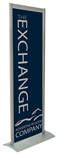 77''h Double Sided Floor Standing Poster Holder - Silver Aluminum by Displays2go (Image #1)