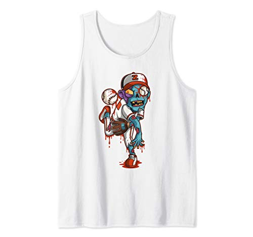 Zombie Baseball Pitcher Halloween Trick or Treating Gift Tank Top