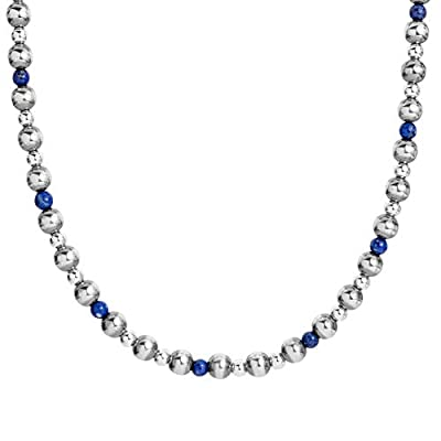 American West .925 Sterling Silver Beaded Necklace in Three Tiered Lengths (Gemstone Options)