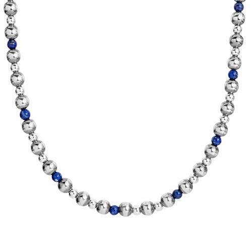 American West Sterling Silver Blue Lapis Gemstone Beaded Necklace 24 to 26 Inch ()