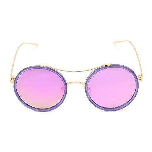 MKY Classic Round Vintage Mirror Lenses Polarized Unisex - Zip Case With Pu Sunglasses