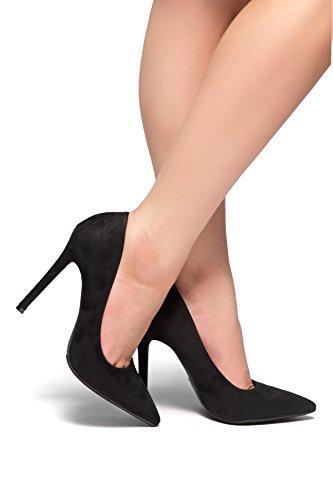 Herstyle Marneena / Daisie En Daim À Talons Hauts Avec Des Orteils Légèrement Pointus Robe Pompe Chaussures De Travail Confortables Noir