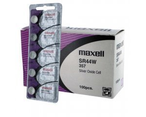 100 pcs Maxell SR44W SR44 357 V357 Silver Oxide Watch Battery by Maxell