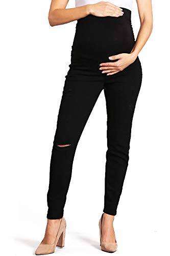 Celebrity Pink Women's Ankle Length Maternity Jegging Skinnys (S, Distressed Black)