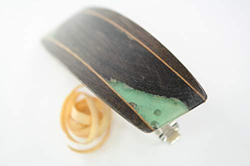 Haarspange / 70mm / Mooreiche + blaues Harz/Intarsie/Einzelstück !