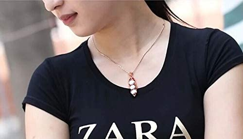 Natural crystal necklace Four seasons bean powder crystal pendant rose gold inlaid with hibiscus