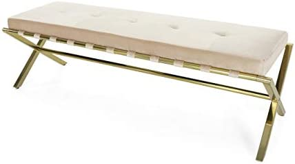 Christopher Knight Home Ella Cushioned Bench, Champagne Velvet, Gold Chrome Iron Cross Legs, Glam, Button-Tufted