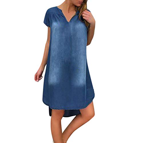 Willow SWomen's Summer Casual V Neck Short Sleeve Denim Long Party Dresses Irregular Hem Pleated Loose Swing Dress