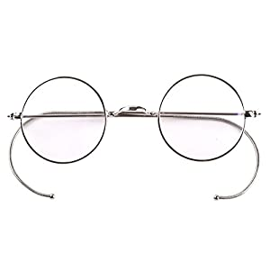 Agstum Retro Small Round Optical Rare Wire Rim Eyeglasses Frame 39mm (Silver, 39mm)
