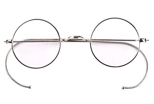 Agstum Retro Small Round Optical Rare Wire Rim Eyeglasses Frame 39mm (Silver, - Cable With Temples Eyeglasses
