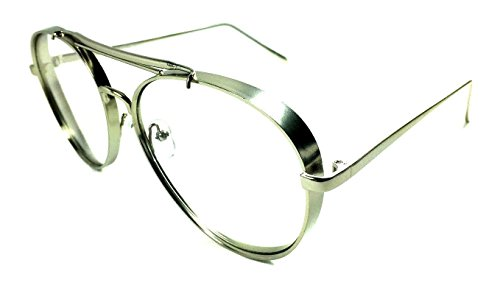 Thick Bold Metal Frame Aviator Eyeglasses / Clear Lens Sunglasses (Silver, - Bold Eyeglasses