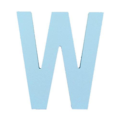 アスパイア3D木製吊り壁の手紙アルファベットの壁のホームオフィスパーティの装飾 - ブルー 英文字 W - 15.2cm